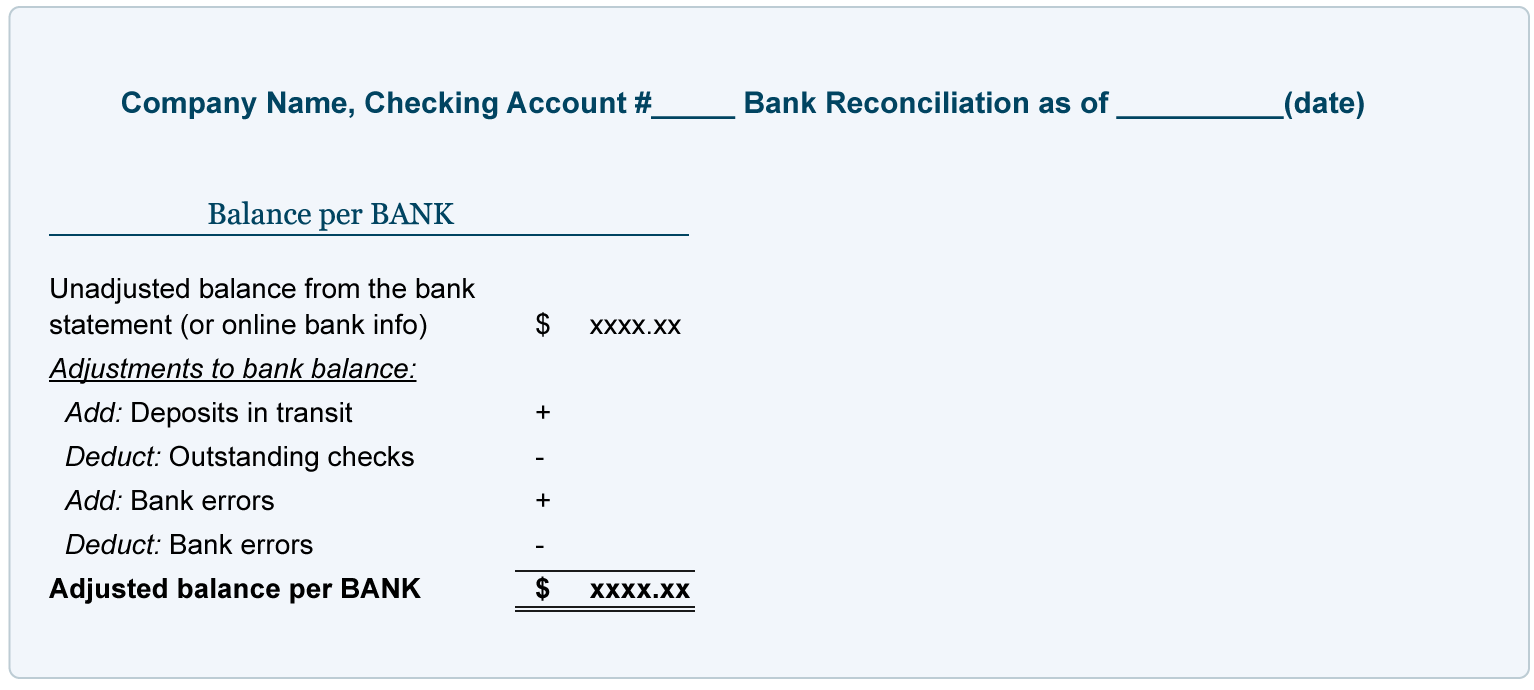 bank reconciliation explanation accountingcoach