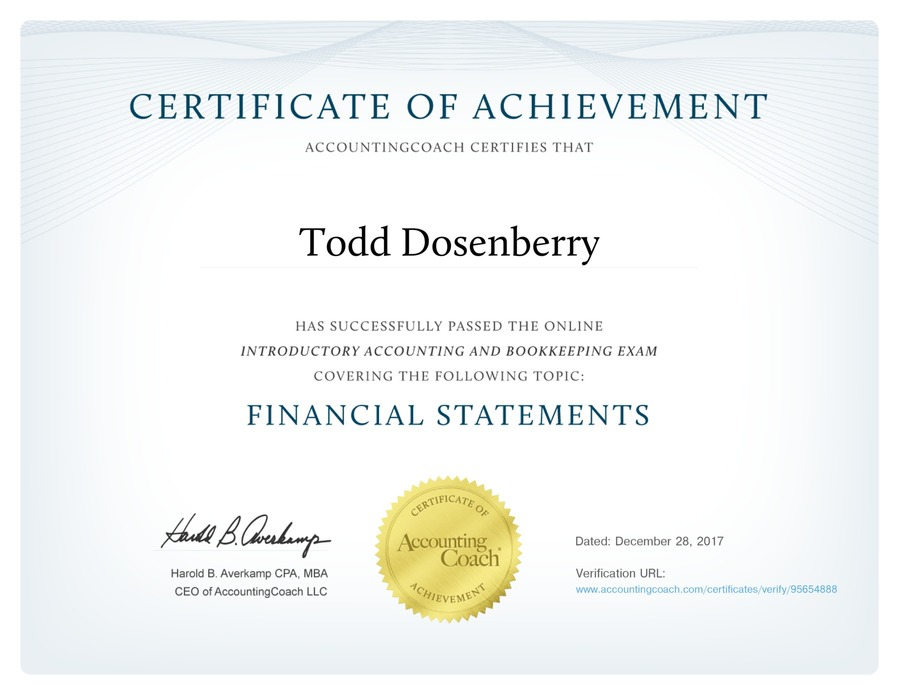 certificate accountingcoach achievement certificates financial statements trademark
